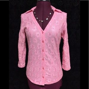 💐INC💐Pink Lacey Fabric 3/4 Sleeve Collared Top